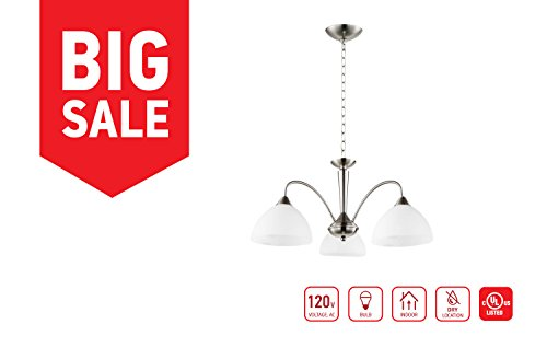 in Home 3-Light Chandelier CH01, Satin Nickel Finish with Alabaster Glass Shade, UL (Alabaster Glass Finish)