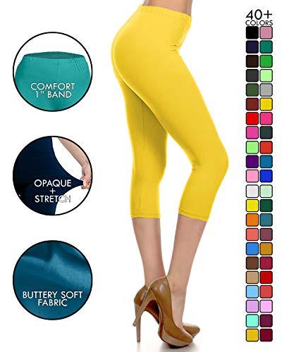NCPRX128-Yellow Capri Solid Leggings, Plus Size
