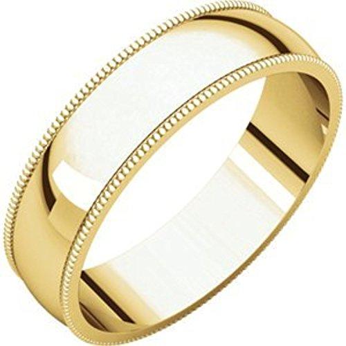 - 14K Yellow Gold Light Milgrain Band, Size: 14