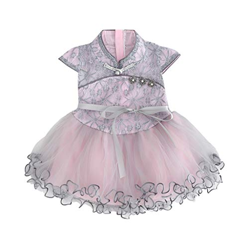Lovewe Baby Cheongsam Dress, Toddler Kid Baby Girl Floral Printed Lace Patchwork Cheongsam Princess Dress (Gray, M ❤ 6-12 Months)