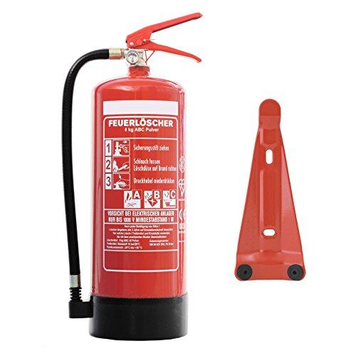 Feuerlöscher 6kg ABC Pulverlöscher mit Manometer EN 3 inkl. ANDRIS® Prüfnachweis mit Jahresmarke & ISO-Symbolschild