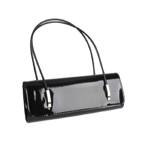 BMC Womens Synthetic Patent Leather Evening Clutch w/Black Cord Shoulder Straps - AFTER HOURS BLACK (Black Leather Evening Bag)