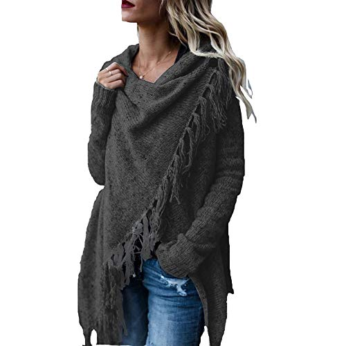 AvoDovA Womens Sweaters Casual Cowl Neck Knit Wrap Pullover Asymmetric Hem Sweater Coat with Button (Dark Grey, Medium) ()