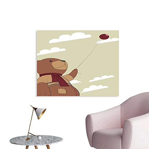 Cartoon Wall Decor A Melancholic Teddy Bear with Scarf Holding a Balloon Clouds in The Sky Clipart Wall Decals for Bedroom W24 xL16
