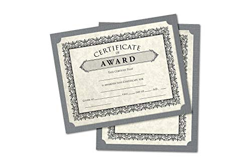9 1/2 x 12 Single Certificate Holders - Sterling Gray Linen (25 Qty) | Perfect for Holding Certificates, Awards, Recognition, Documents and More! | SCH-GRLI-25