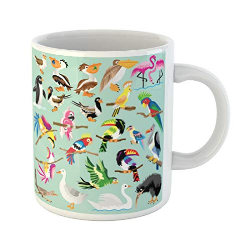 Semtomn Funny Coffee Mug Colorful Parrot Bird Species Jungle Cockatoo Roadrunner Pelican Tropical 11 Oz Ceramic Coffee Mugs Tea Cup Best Gift Or Souvenir]()