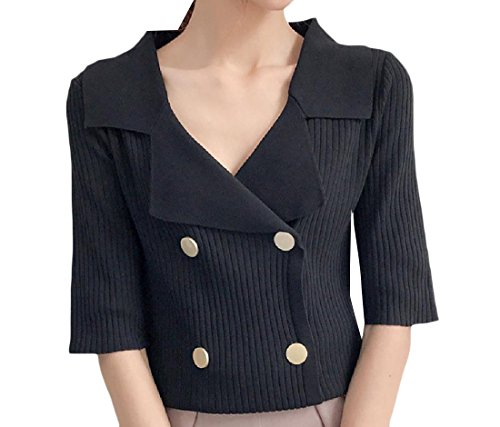 Blazer Black Pinstripe Jacket (Tootless-Women 1/2 Long Sleeve Fitness Pinstripe Button Blazer Jacket Black OS)