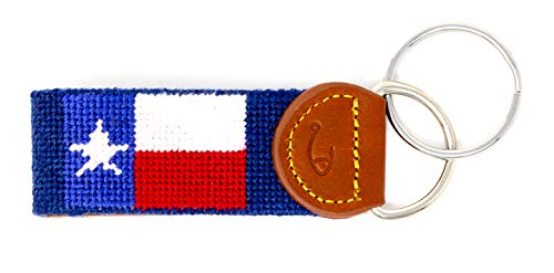 Hand-Stitched Needlepoint Key Fob or Key Chain by Huck Venture (Texas Flag)