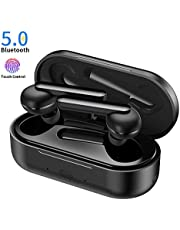Bluetooth Kopfhörer, Chaobai-Funkkopfhörer Blutooth 5.0 EDR-Ohrhörer Mini-In-Ear Kopfhörer 5H Playtime mit Mikrofon, Berührungsfunktion, tragbarer Ladekoffer für iPhone iPad Android-Telefone etc