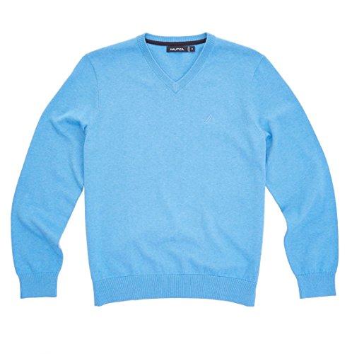 Nautica Mens Solid V Neck Sweater