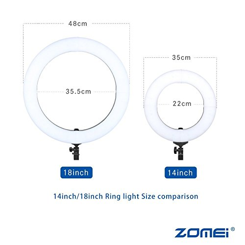 ZOMEI 18-inch LED Dimmable Ring Light with Stand One-Piece Warm Color Filter Cell Phone Clip for Beauty Facial Make Up Live Stream Camera YouTube Video by BAIPAK (Image #3)