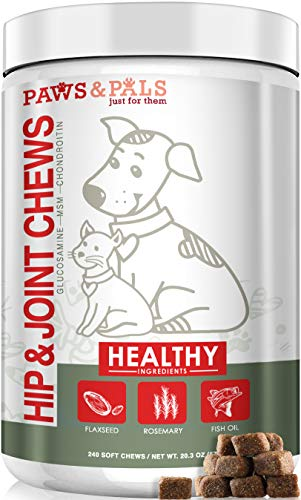 Paws & Pals Glucosamine for Dogs - 240ct Advanced Soft Chews - Chondroitin + MSM for Hip Joint