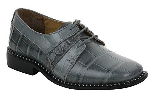 Liberty Boys Gliders Genuine Leather Crocodile Print Lace Up Dress Shoes (Size 6 UK/Age 8-12 Years/Length 24.2Cm, Grey) (Liberty Kids 9)