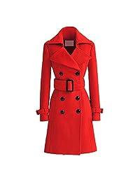 SODIAL(R) Women Trench Cashmere Slim Winter Warm Coat Long Wool Jacket Outwear With Belt Red Size m