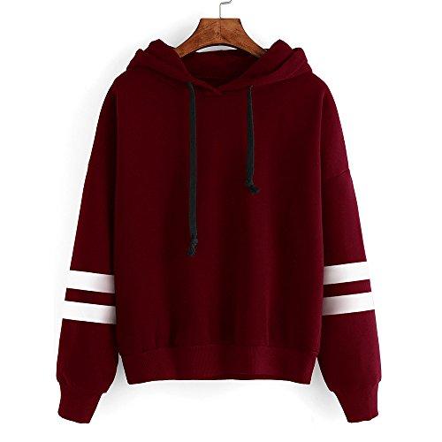 - STORTO Womens Long Sleeve Hoodie Sweatshirt,Sleeve Stripes Jumper Hooded Pullover Blouse