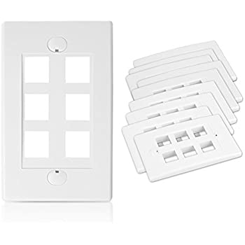 4 - PACK Black Point Products BT-203 White Cat-5 6-Cavity Keystone Wall Plate