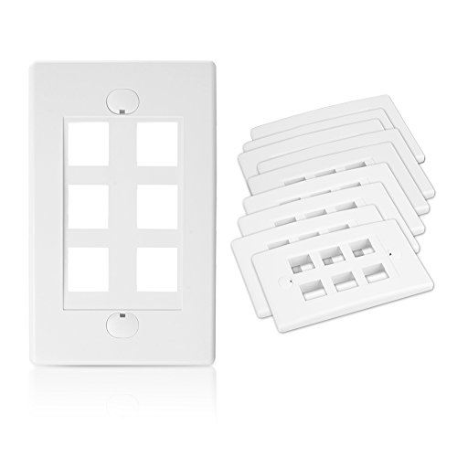 [UL Listed] Cable Matters (10 Pack) Wall Plate with 6-Port Keystone Jack in White