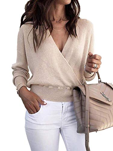 FISACE Womens Sexy Loose Wrap Cross Deep V Neck Ribbed Knit Crop Top Pullover Sweatshirt Deep V-neck Cable Sweater