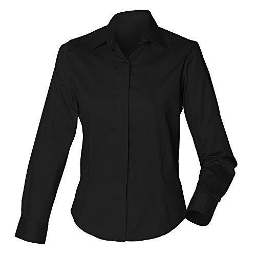 ご注意病気の戻す(ヘンブリー) Henbury レディース 長袖オックスフォードシャツ フィットワークシャツ ワイシャツ ブラウス 女性用