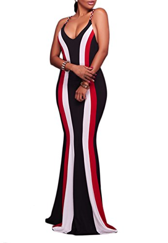 OMZIN Ladies 80s Sleeveless Gold Maxi Dress Black/Red/White L 80s Cocktail Dresses