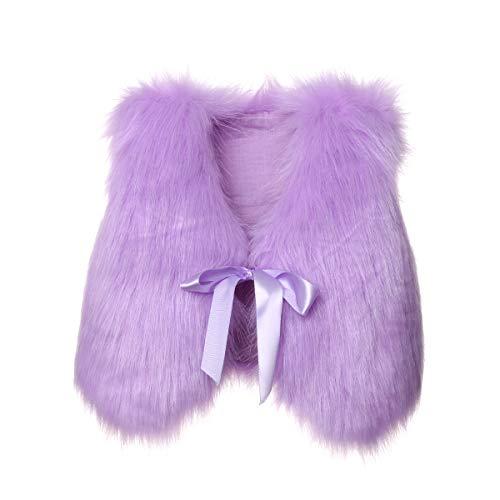 Toddler Girl Faux Fur Vest Coat Winter Warm Waistcoat Outerwear (2-3 Years, Purple) ()