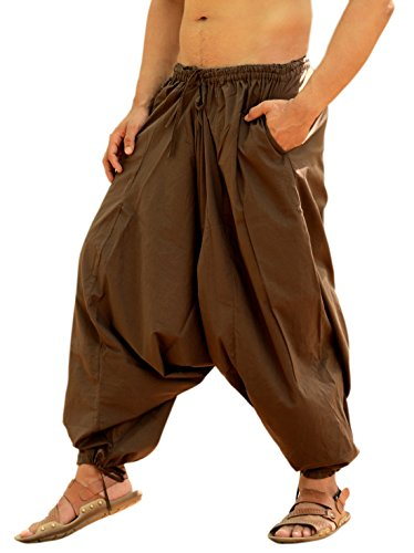 Sarjana Handicrafts Men's Cotton Harem Yoga Baggy Genie Boho Pants