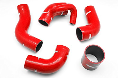 - Autobahn88 Intercooler Silicone Hose Kit for 1992-2000 Volvo 850T5 850T5R S70T5 V70T5 (Red -with Clamp Set)