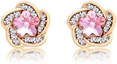 Lorina 18K Gold Pink Rose Flower Swaroviski Element Crystal Stud Earrings for Girls Women