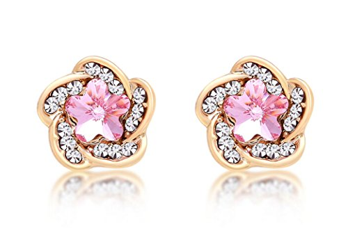 Lorina 18K Gold Pink Rose Flower Swarovski Element Crystal Stud Earrings for Girls Women (18k Pink Ring)