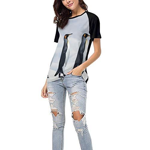Laki-co Women's Summer Short Sleeve - Three Penguin Casual Raglan Tee Baseball Tshirts Tops Blouse XXL Black