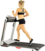 Sunny Health & Fitness Motorized Folding Running Treadmill with Wide Base, Portable, USB, Aux, No Assembly