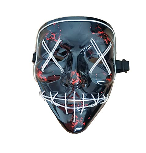 Himine Halloween Mask Cosplay LED Light up Purge Mask for Festival Party -