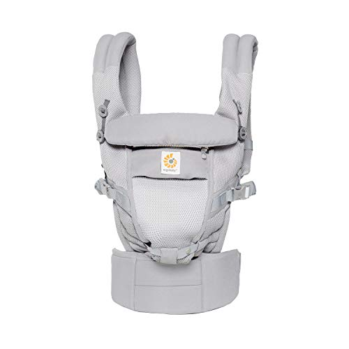 Ergobaby Adapt Award Winning Ergonomic Multi-Position Baby Carrier, Newborn to Toddler (Cool Air Mesh - Pearl Grey)