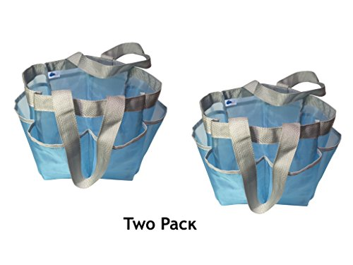 Value 2 Pack - Two Premium Mesh Quick Dry Mesh Shower Caddy in Light Blue with Double Handles in Grey Double Handle Shower