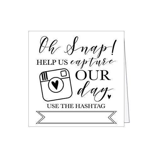 25 Black and White Wedding Instagram Hashtag Signs, Vintage Table Top Place Cards or Photo Booth Oh Snap Sign, Quotes for Wedding, Wedding Reception or Ceremony Decor