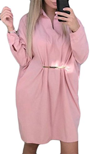 Gros Manches Longues Des Femmes Tang V-cou Taille Plus T-shirt Rose Chemise Blouse Robe