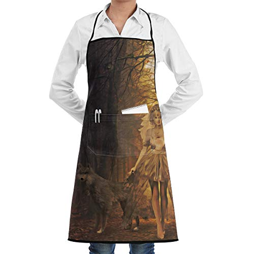 Scary Halloween Ghost Bride Holding Wolf In The Forest BBQ Waiter Housekeeper Pet Grooming Bartender Kitchen Beautician Hairstylist Nail Salon Carpenter Shoeing Wood Painting Artist Pocket Apron ()