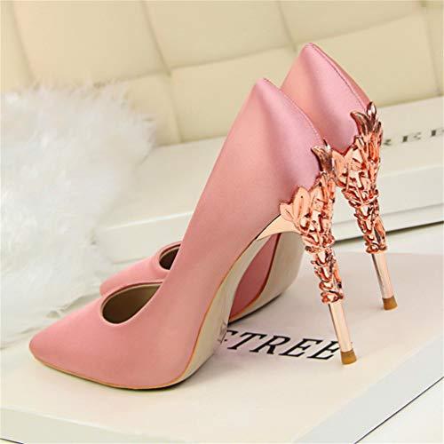 Las De Seda Puntera Punta Sexy Rosa Sólida Elegante Metal Profundas Boda Poco Corte Zapatos Tacones Mujeres Tacón Bombas Medio Altos Damas Tallado Para 7z8qRpP