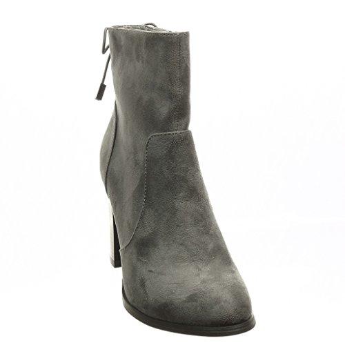 Angkorly - damen Schuhe Stiefeletten - Low boots - Knoten Blockabsatz high heel 9 CM - Grau