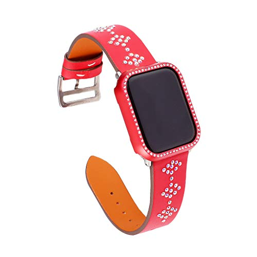 (Sodoop Leather Bands Compatible for Apple Watch 38mm 40mm, Luxury Bling Rhinestone Genuine Leather Strap Replacement Bracelet Wristband for iWatch Series 4/3 /2/1)