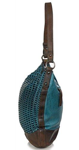 FREDsBRUDER Smiling Fish Toujours Hobo Bag - sac à bandoulière avec une bandoulière en cuir supplémentaire avec motif découpé au laser (34 x 32 x 13 cm) dark ocean