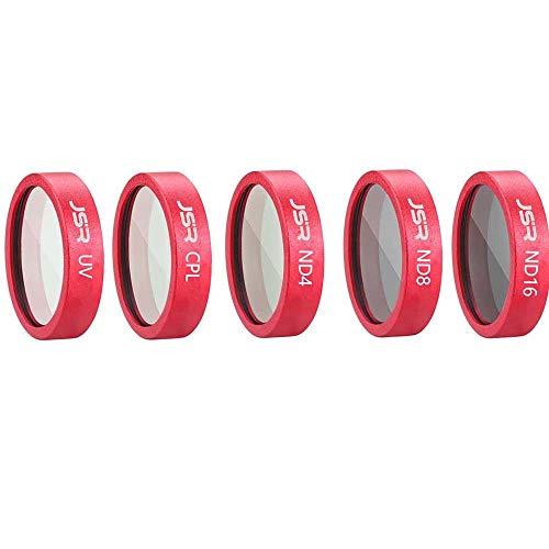 Iusun Lens Filters for DJI Mavic 2 Zoom Drone FPV Camera, 5 in 1 UV CPL ND4 ND8 ND16 Waterproof Camera Lens Filters for DJI Mavic 2 Zoom Drone (Red)