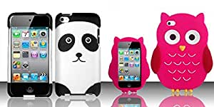 Combo pack For iPod Touch 4 Rubberized Design Cover - Panda Bear And For iPod Touch 4 - OWL 3D Silicon Skin Case - Hot Pink SCOWL