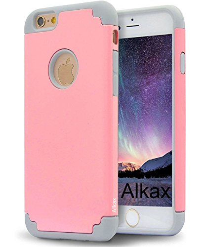 iPhone 6S Case , iPhone 6 Case , Alkax Rugged Heavy Duty Thin Slim Fit Armor Dual Layer Hybrid Shockproof High Impact  Protection Cover Bumper for Apple iPhone 6 +1 Stylus Pen(Pink/Grey) ()