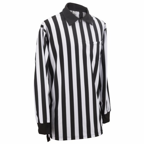 Adams USA Smitty FBS102 Football Officials Warp Knit Long Sleeve Shirt (Black/White, Large) -