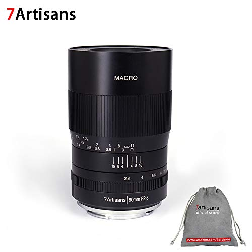 7artisans 60mm F2.8 Macro APS-C Manual Focus Lens Widely Fit for Compact Mirrorless Cameras Fuji X-A1 X-A10 X-A2 X-A3 A-at X-M1 XM2 X-T1 X-T10 X-T2 X-T20 X-Pro1 X-Pro2 X-E1 X-E2 E-E2s