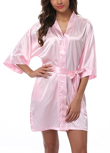 ABC-STAR Womens Short Satin Kimono Robe for Wedding Bridal Party Bridesmaid Robe, Pink, ()