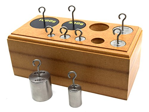 Hooked Weights Set, Stainless Steel, 9 Pieces - Metric Grams, 10-1000 Grams - Includes Wooden Storage Block - Eisco Labs