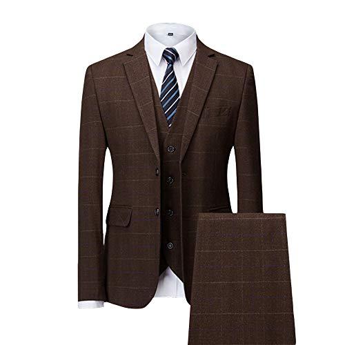 MAGE MALE Men's Plaid 3 Piece Suit Slim Fit Elegant Single Breasted Business Wedding Party Blazer Vest& Pants Set