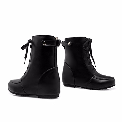 Shoes Fashion Shoes With Tie Boots Martin Light Size Women's Dough Front RFF Black Short 5Znqgw857